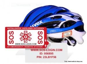 SOS-Notfallsticker auf einem Fahrradhelm