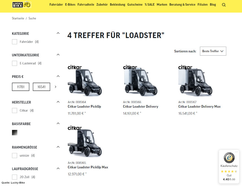 Verschiedenen Versionen des Cargobike Loadster im Online-Shop bei Lucky Bike.
